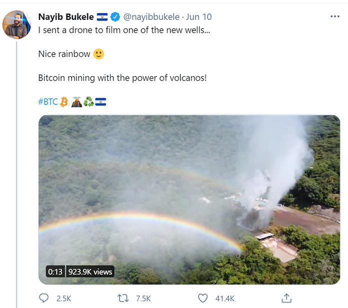 El Salvadoran President Nayib Bukele Twitter posts about bitcoin mining