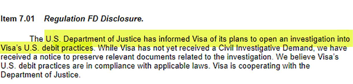 Visa Discloses DOJ Investigation on Debit Charges