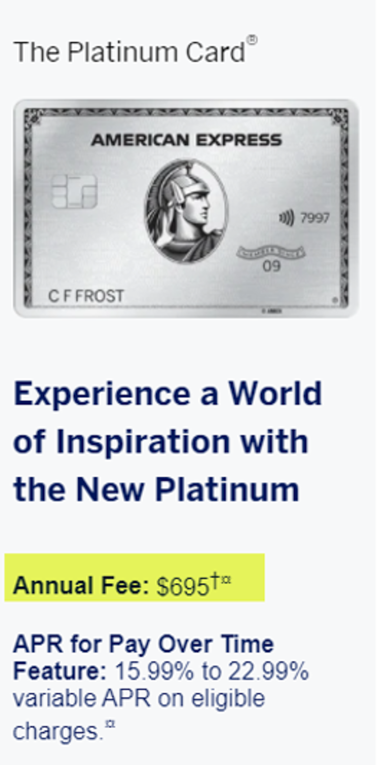 AMEX Hikes Platinum Card Fee from $550 to $695