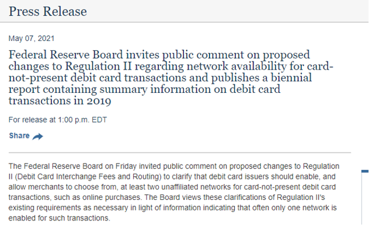 Federal Reserve press release on card-not-present debit charges