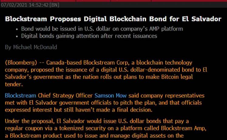 Blockstream Proposes Digital Blockchain Bond for El Salvador