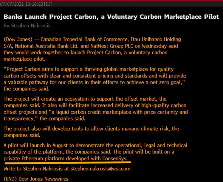 Banks Launch Project Carbon, a Voluntary Carbon Marketplace Pilot