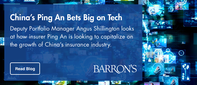 Click here to read more from Deputy Portfolio Manager Angus Shillington Barron's Article about China's Ping An bets big on tech