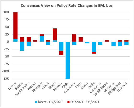 Chart at a Glance: Consensus Does Not See Too Many Rate Hikes in EM